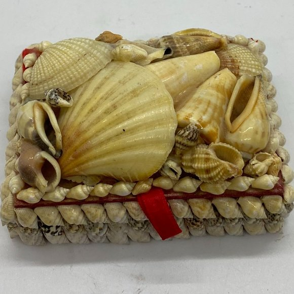 Vintage 1950 Seashell Trinket Box Jewelry Box Red